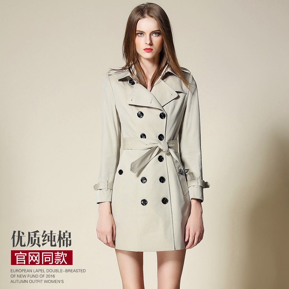 2017 New spring Autumn Trench Coat For Women Double Breasted Trench Coat Long Sashes kaki thin spring female windbreak