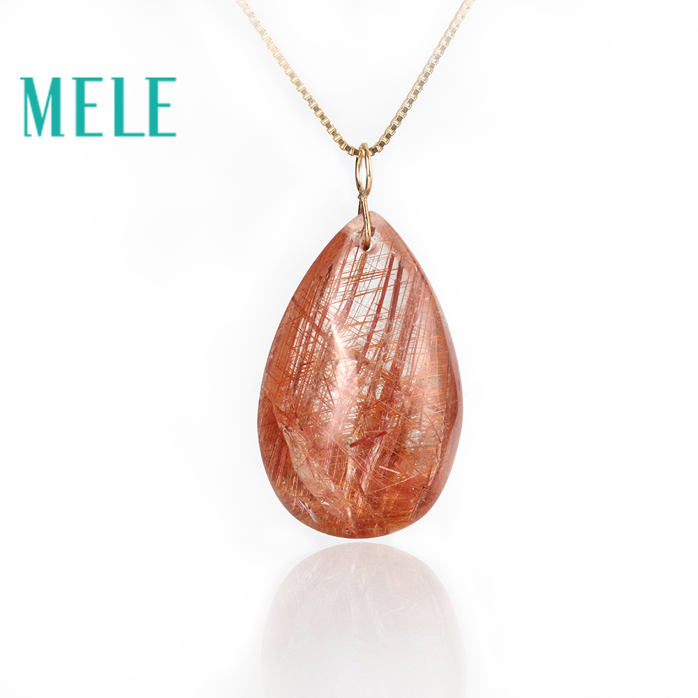 Natural garden crystal real 18K gold pendant for women and man.red color ghost hairstone jewelry.pear cut simple and fashion