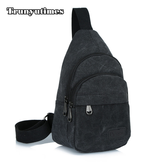 Trunyutimes Sling Backpack Bag For Women Small Canvas Single Strap Portable Black Travel Rucksack Casual