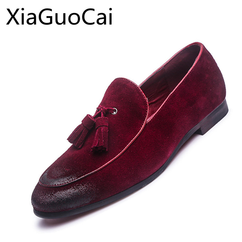 Vintage   Suede     Leather   Men Loafers Fashion Men's Flats Casual Shoes Slip-On Breathable Retro Loafers for Men