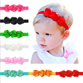 Hot Sale 1pcs baby girl headbands three rose satin flowers head band elastic hair band kids children hair accessories
