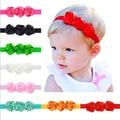 Venda quente 1 pcs do bebê menina headbands três rosa cetim flores cabeça elástico faixa de cabelo crianças crianças acessórios de cabelo