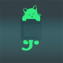 Милый котенок, кошка, светящееся Серебристое свечение, настенная бумага для выключателя, художественная домашняя кухня, спальня, гостиная, туалет, декоры, переключатель