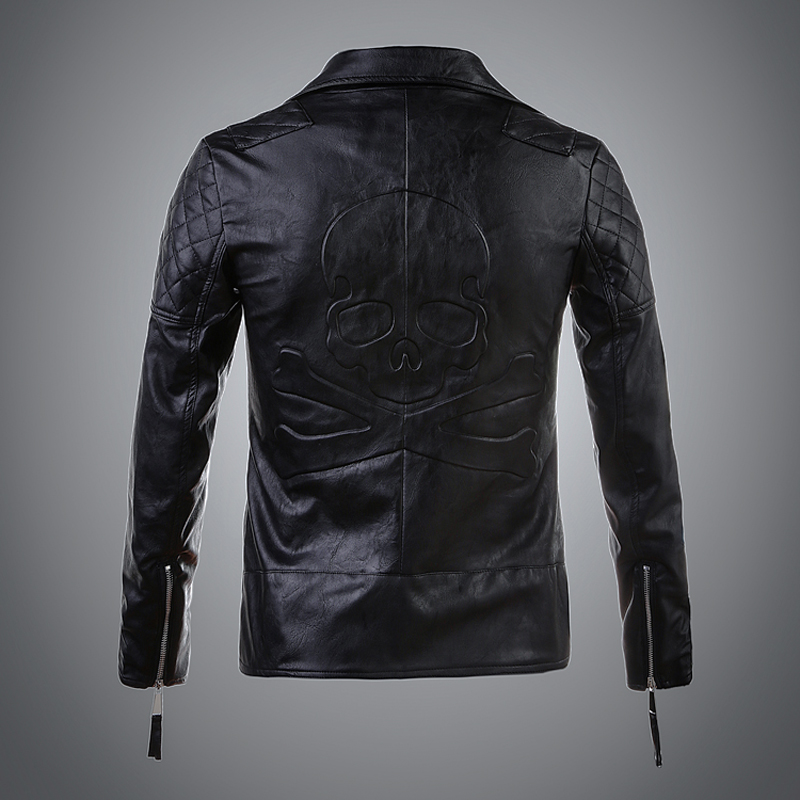 2017 new fashion casual Motorcycle leather jacket women high quality skull pattern women ...