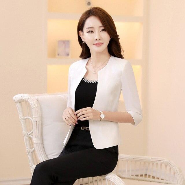 Elegante Weiß Frühling Sommer Halb Hülse Formale Blazer Frauen Jacken Mantel  Blaser Damen Büro Uniform Style db57a970b9