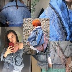 Kobiety rękaw nietoperz pomponem krótkie luźne zadziorów kurtka dżinsowa kobiet moda nowy boyfrieds znosić 2019 jesień Streetwear jean płaszcz 5