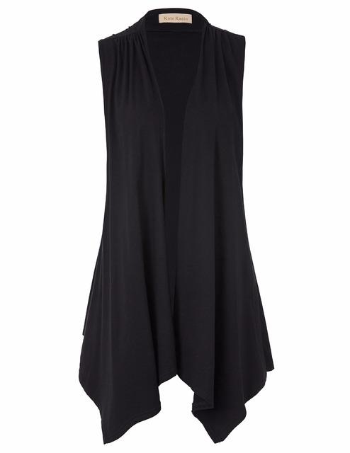Sexy mujeres de las señoras sin mangas asimétrica del dobladillo de algodón frente abierto chaleco capa delgada camiseta femme tallas grandes camisetas para mujeres