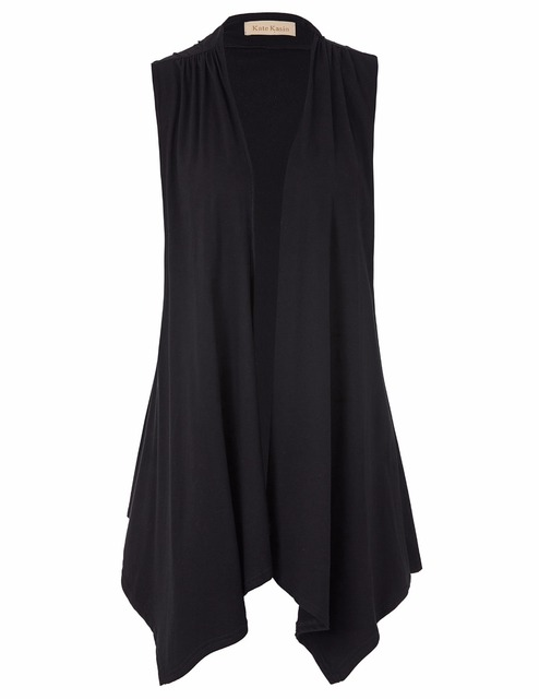 Sexy women ladies sleeveless asymmetrical hem open front cotton vest coat slim tee shirt femme plus size t shirts for women