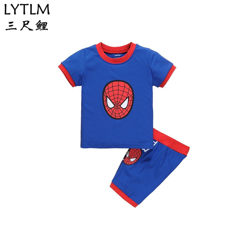 LYTLM Spiderman Homecoming Suit Summer Baby Boy Clothes Sets Short Sleeve Sport Suit Children Clothing Boys Set Cotton Outfit