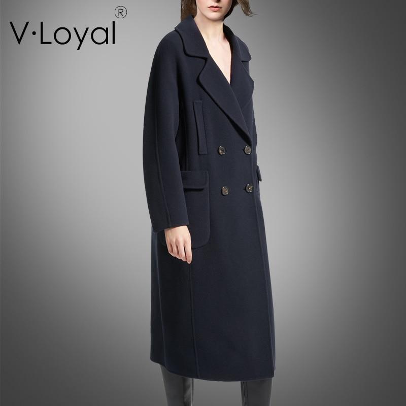 Breasted Mode Cachemire Double Face Boucle Deep Avec Manteau De Hiver En Blue Nouvelle Long vYSEw6axqp