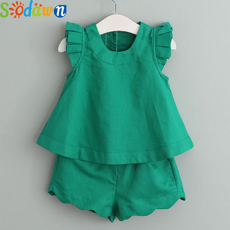 Sodawn Summer Style Children Clothes Girls Clothes Sets Fly Sleeve Shirt + Shorts 2Pcs Suit New Fashion Girls Clothing