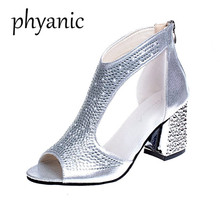 Phyanic Silver Gold Women shoes Sandals Square High Heels. US  23.62   Pair Free  Shipping 3e134a226dac