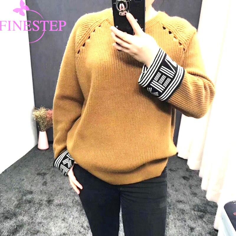 Сплошной длинный рукав свитер 2018 зима теплая Для женщин свитера пуловеры с круглым вырезом вязаные свитера Для женщин Элегантный Повседнев