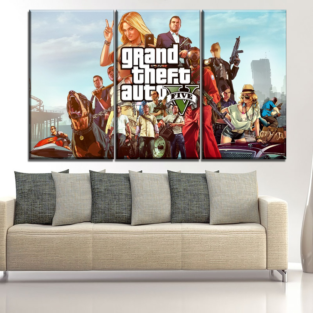 Modular Picture Wall Art Decor Game Poster Canvas Print 3 Panel Grand Theft Auto V Role Painting For Living Room Picture in Painting Calligraphy from Home Garden