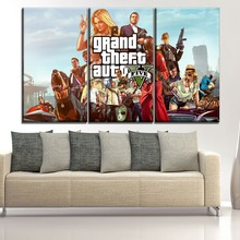 Modular Picture Wall Art Decor Game Poster Canvas Print 3 Panel Grand Theft Auto V  Role Painting For Living Room