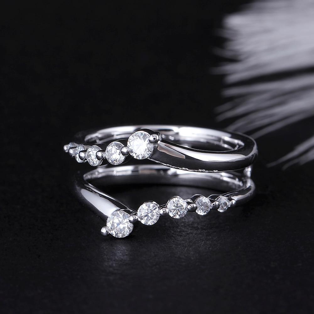 Transgems 솔리드 14 k 585 화이트 골드 숙녀 결혼 반지 f 컬러 moissanite 반지 1ct 반지에 대한 쌓을 수있는 웨딩 밴드-에서반지부터 쥬얼리 및 액세서리 의  그룹 2