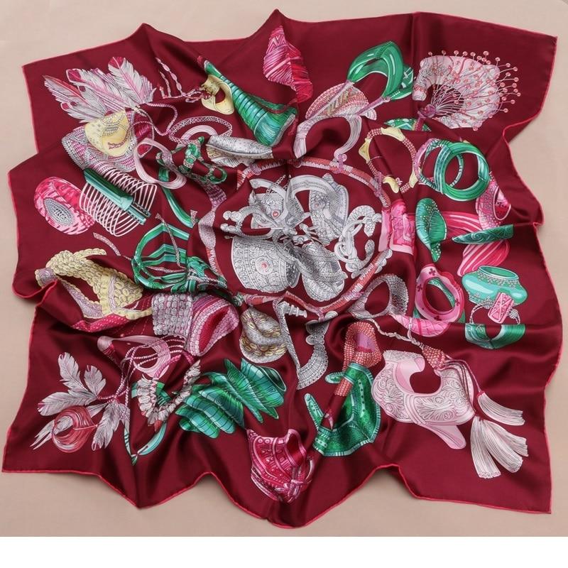 Fashion Prints 100% Twill Silk Scarf Hijab Foulard 14MM Large Square Silk Scarfs Shawl Wraps 35