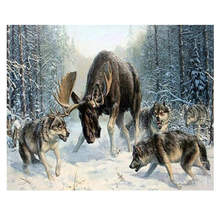 Living Room Decoration,Wall Photos For Room,Deer Fight Wolf,Diy Oil Painting By Numbers