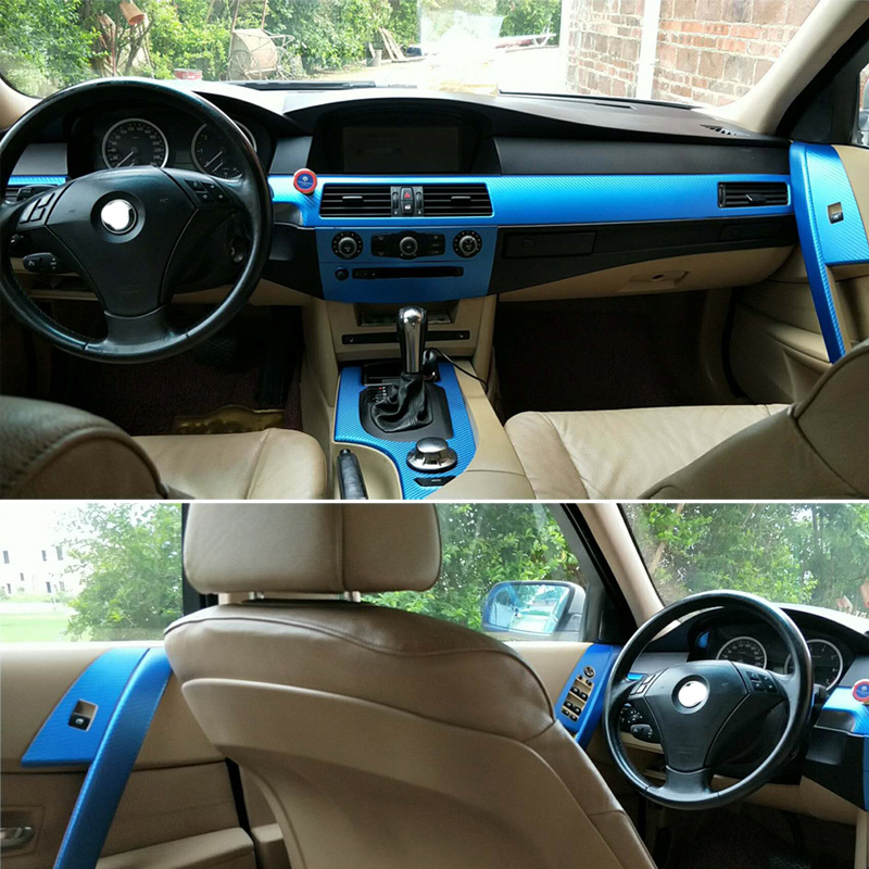 Car-Styling New 5D Carbon Fiber Car Interior Center Console Color Change Molding Sticker Decals For BMW 5 Series E60 2004-2010