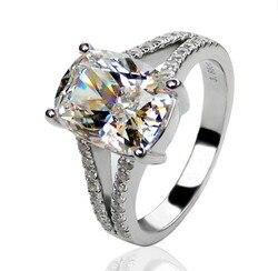 Винтажное фантастическое цельное Платиновое кольцо PT950 3,85 карата обручальное кольцо с бриллиантами и подушкой красивый подарок на день рож...