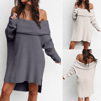 winter clothes women Off Shouder Long Sleeve sweater Chunky Knitted Roll Neck Jumper Mini maglioni donna