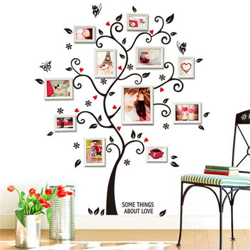 Design Stickers For Walls por heart vinyl wall stickers heart vinyl wall 50 beautiful designs Aliexpresscom Buy New Arrival Black Tree Photo Frame Diy 3d Vinyl Wall Stickers Removable Wall Sticker Design Living Room Home Decoration Cc2531 From