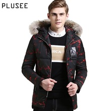 Plusee winter jacket men fur hooded parka men jackets 2017 warm casual thicken plus size print winter jacket men outerwear M-3XL