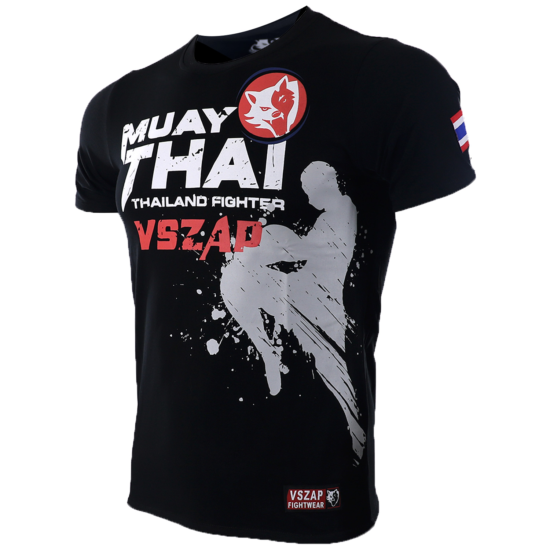 Vszap Muay Thai MMA Cotton T-Shirts Short Sleeve T - Shirt Leisure Casual Knee Attack Tops Thai Flag Men's Clothing