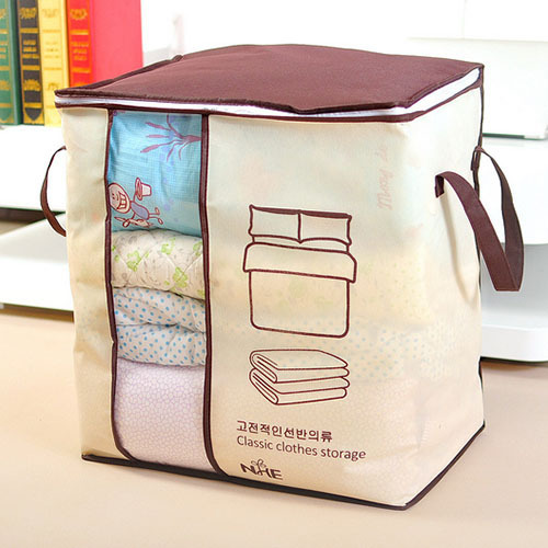 New Foldable Beige Clothing Organizer Storage Box For Blanket Pillow  Underbed Bedding Underwear Packaging Storage Boxes