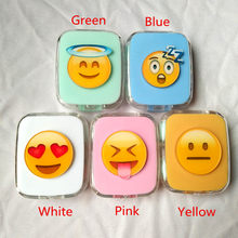 LIUSVENTINA DIY Acrylic Cute Expression Sleep Grimace Loving Smile Contact Lens Case with Mirror Box Container for Color Lenses(China)