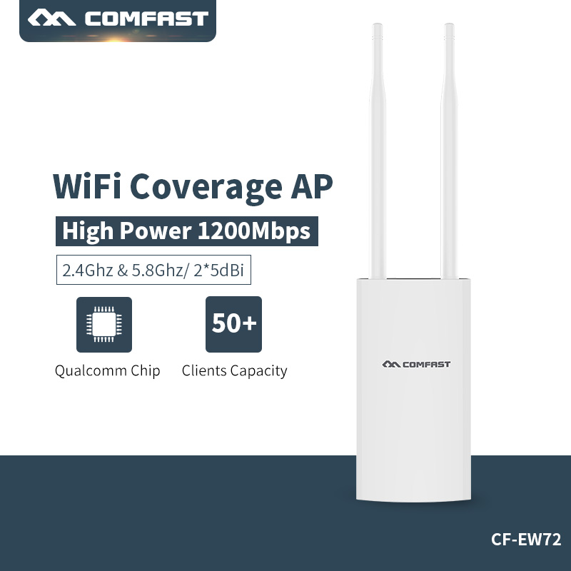 Comfast Outdoor Wireless AP Wifi Repeater 2.4G + 5GHz WiFi Amplifier 1200mbps Dual Band Wifi Router High Power Wifi Extender outdoor wifi repeater 2 4gwireless wifi amplifier with ap wisp 27dbm wifi router high power wifi extender base station ap
