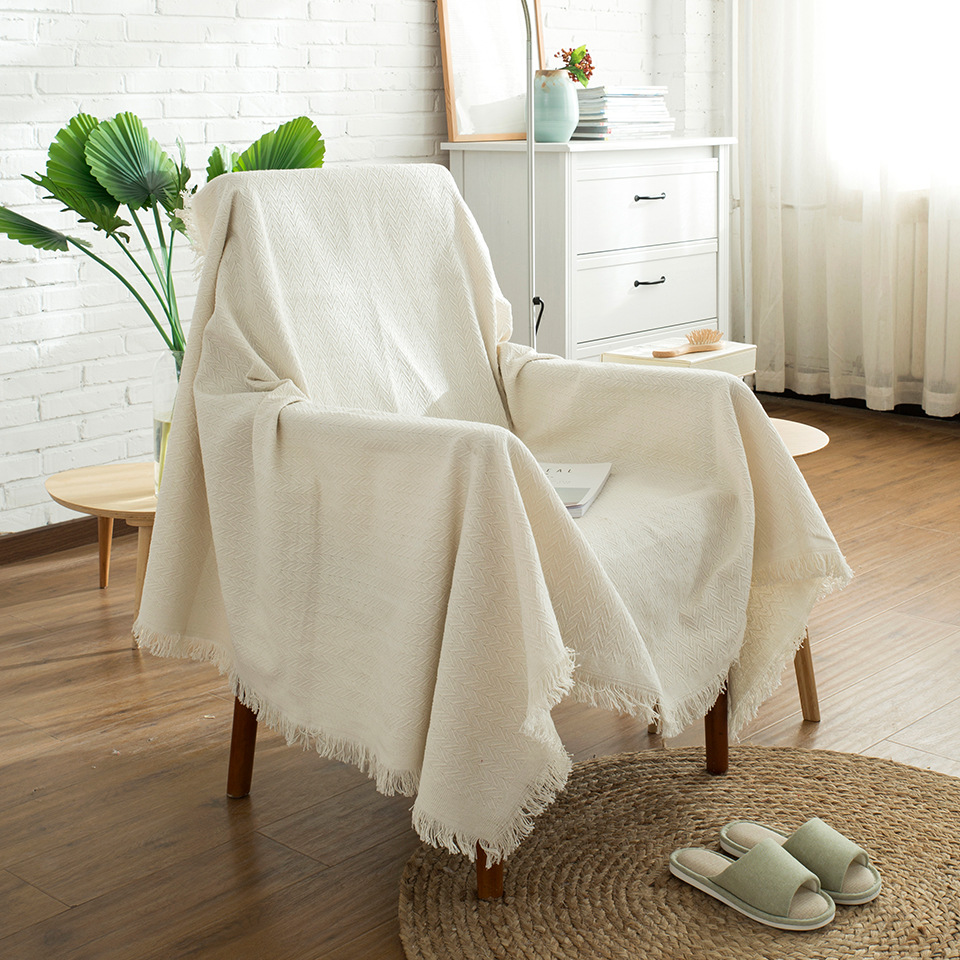 Admirable Beige Sofa Blanket Sofa Cover Slip Resistant Soft Sofa Anti Mite Towel With Tassel Thicker Knitted Sofa Cushion Cover For Couch Pdpeps Interior Chair Design Pdpepsorg