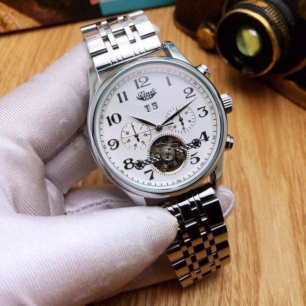 XINDI zegarek retro klasyczne męskie zegarki ze stali nierdzewnej zegarek szkieletowy z tourbillonem automatyczne mechaniczne mężczyzna zegar moda biznesowych zegarek w Zegarki mechaniczne od Zegarki na  Grupa 1
