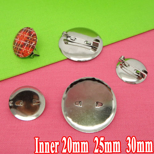 50pcs 20-25-30mm Wholesale Rhodium Plated Brooch Blank Jewelry Bezel Setting Tray for Cameo Cabochons and Safety Pin