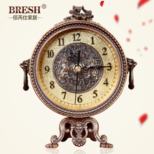 Bai Rui Shi style living room clock retro high-end desktop clock antique metal watch