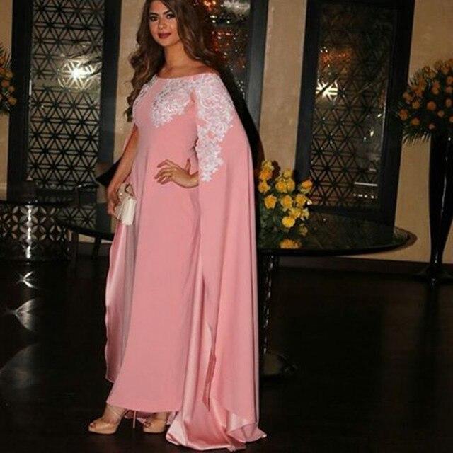 a8ba49cb0fc Dubai Kaftan Robes soiree 2017 Elegant Pink Straight Long Evening dresses  With Cape Lace Prom Gown Party Dresses Abendkleider