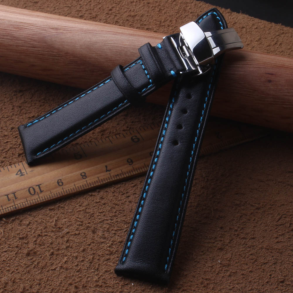 Genuine Leather Watchband Smooth Black Cowhide Leather With Blue Line Stitched 18mm 20mm 22mm 24mm Butterfly Buckle Clasp Silver