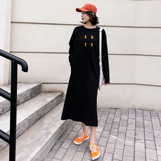 L-3XL 2019 New Fall Winter Women Letter Embroidery Loose hoodies Girl streetwear Trend Fashion Long Style Pullovers Sweatshirts