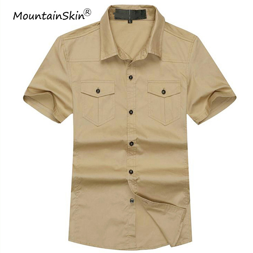 Mountainskin 4XL Mens Shirts Summer Short Sleeve Shirt Men Fashion Cotton Solid Army Military Men Shirt Brand Clothing LA608 ...