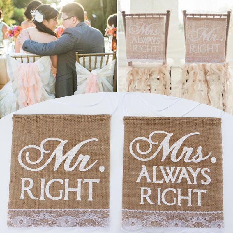 2pcs/set Mr Right & Mrs Always Right Pattern Burlap Chair Sign Bunting Banner Rustic Wedding Party Decoration Photography Sign