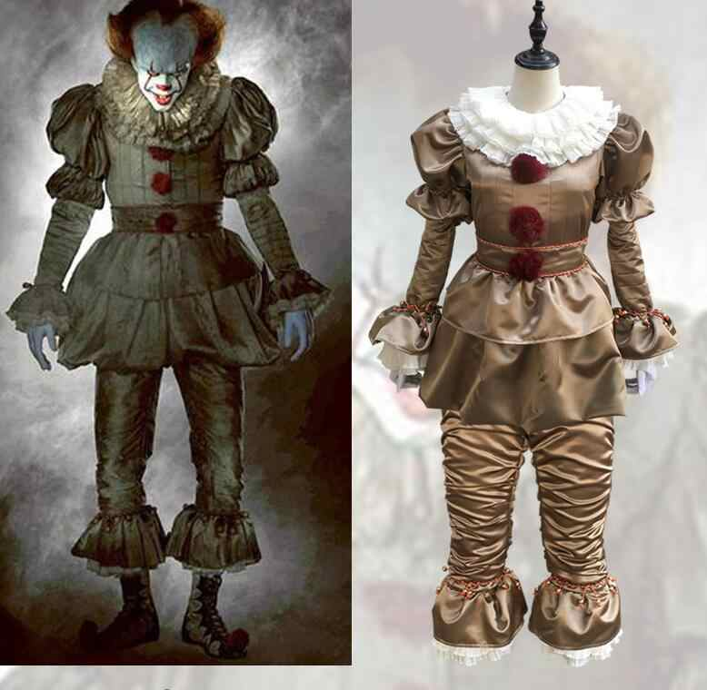 Hot Movie Stephen King's It Mask Pennywise Cosplay Costume Scary Joker Suit Men Women Fancy Halloween Party Clown Costume
