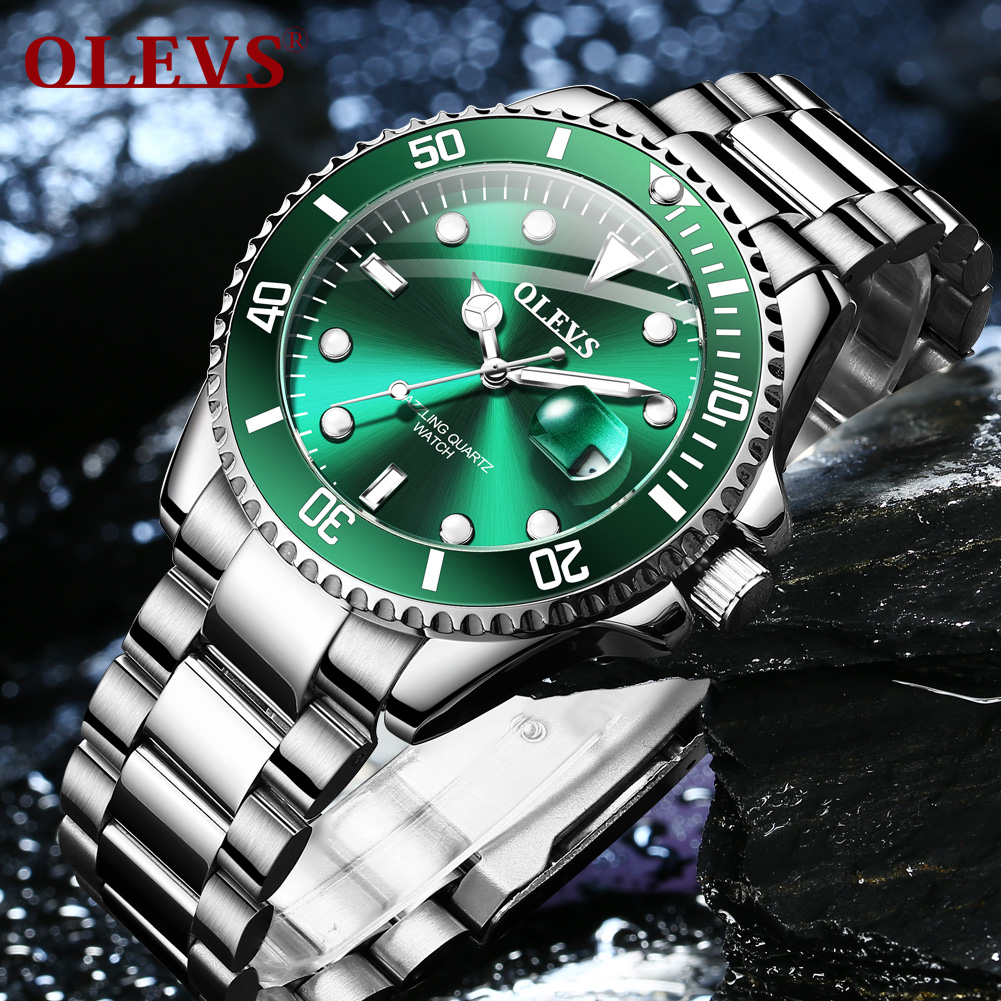 New OLEVS Water Ghost Series Classic green Dial Luxury  quartz Men Watches Stainless Steel 30m Waterproof Watch