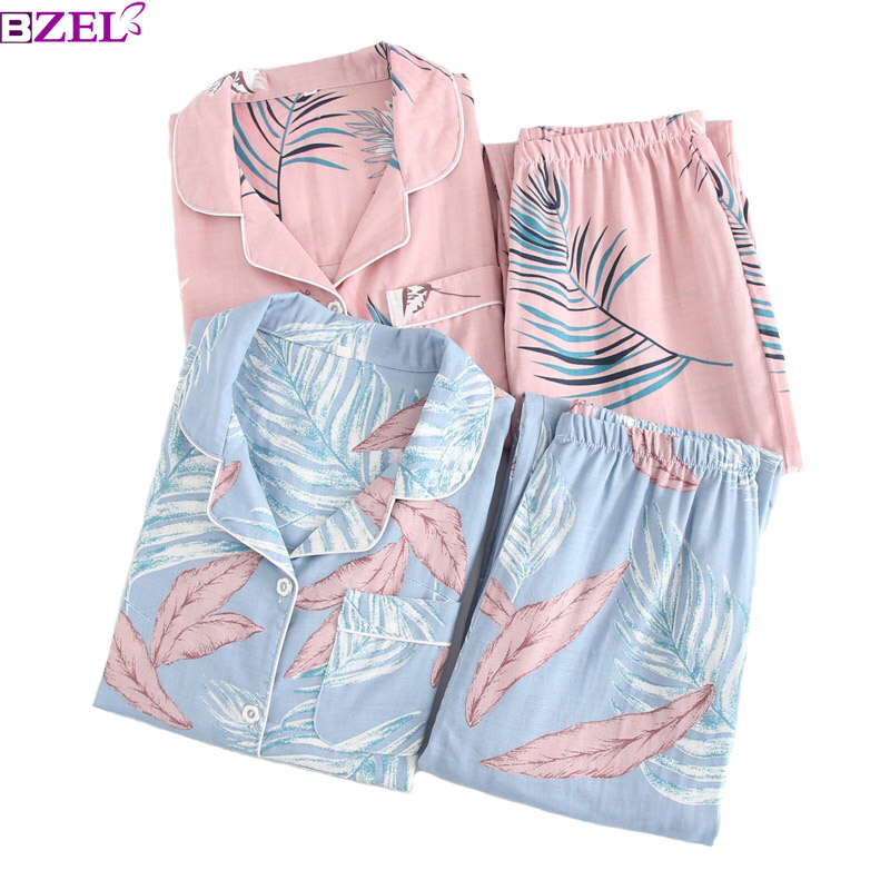 Spring And Summer Women's Leaves Printed 100% Gauze Cotton Ladies Long Sleeve Home Sets Pijamas Set Thin Nightwear Sleepwear