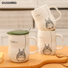 NEW 280ml Hand Make Ceramics Mugs With Spoon and Cover Totoro Cartoon Theme Milk Cup Kitchen Tools