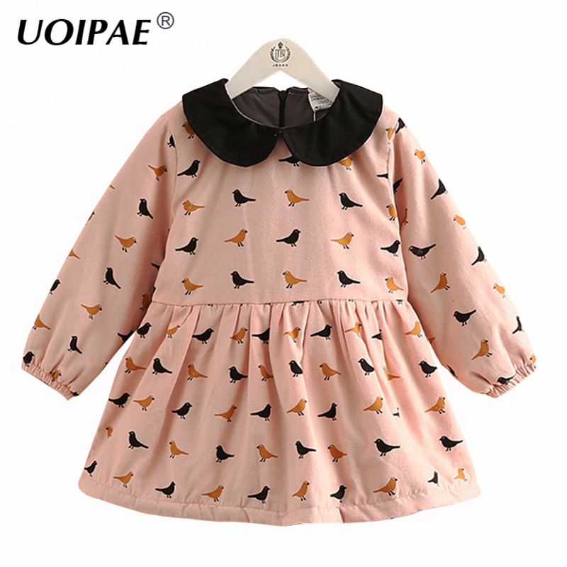 UOIPAE Kids Dress For Girls Winter 2018 Fashion Birds Pattern Print Kids Princess Dress Long Sleeve Children Clothing 4353W uoipae party dress girls 2018 autumn