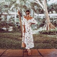 new arrival 2019 ukraine summer clothes for women midi white polka dot boho dress v neck bandage designer elegant