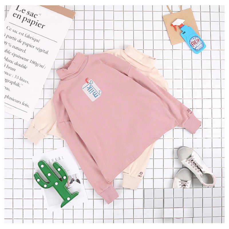 Kawaii cukierki kolor Uzlang Turtle Neck mleka bluza Harajuku hafty damska bluza z kapturem w stylu japońskim różowy czysty kolor