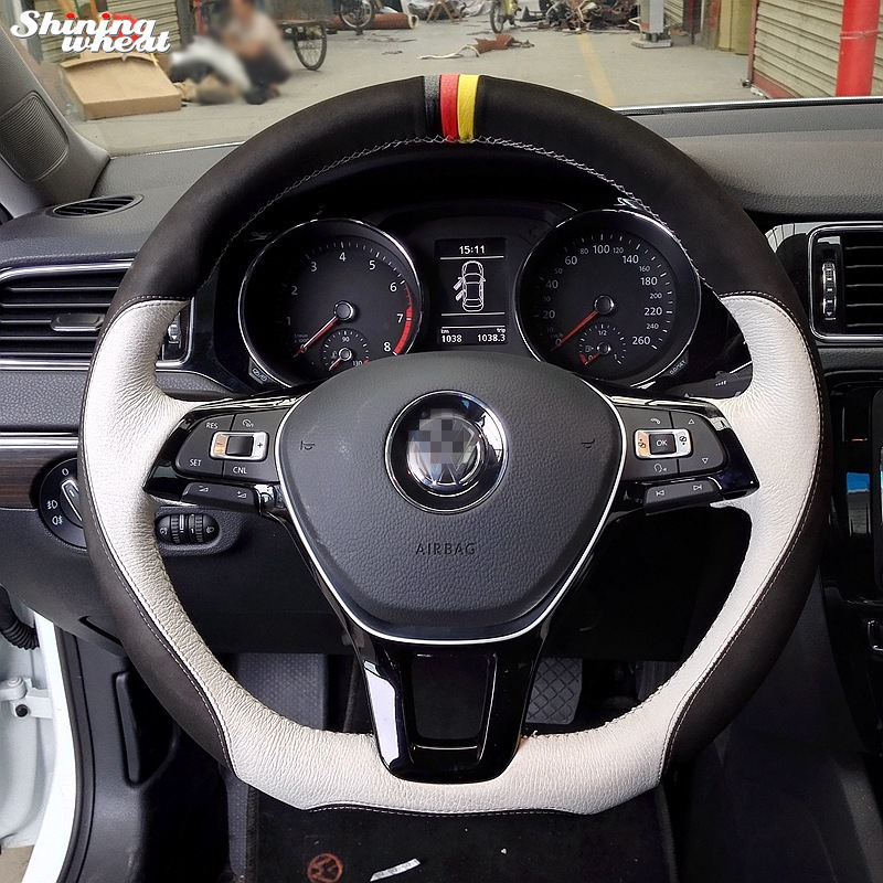 Shining wheat Hand stitched Steering Wheel Cover for Volkswagen VW Golf 7 Mk7 New Polo Jetta