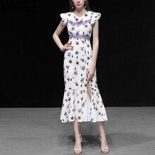 Seifrmann New Women Summer Dress Runway Fashion Designer Butterfly Sleeve Elegant Lace Floral Printed  Splice Side slit Dresses