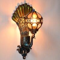 Открытый свет павлин настенные светильники Светодиодный балкон Ретро вилла сад двери проходу бра зеленый/золото ZA FG218